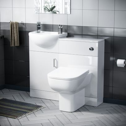 Hypar 410mm Vanity, WC Unit And BTW Squared Toilet White