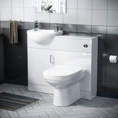 Hypar 410mm Vanity, WC Unit And BTW Curved Toilet White