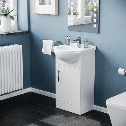 Elora Small 420 White Basin Vanity Storage Cabinet Unit Single Door