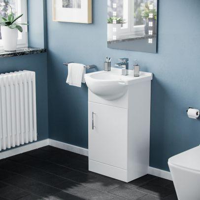 Dyon 450mm Floorstanding Vanity Basin Unit White