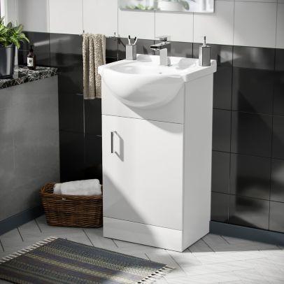 Cloakroom Floor Standing Basin Sink Vanity Unit and Aldo Modern Cloakroom Single Lever Basin Mono Tap White