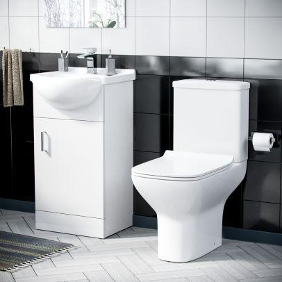 Dyon 550mm Basin Floor Standing Vanity Unit & Rimless Close Coupled Toilet White