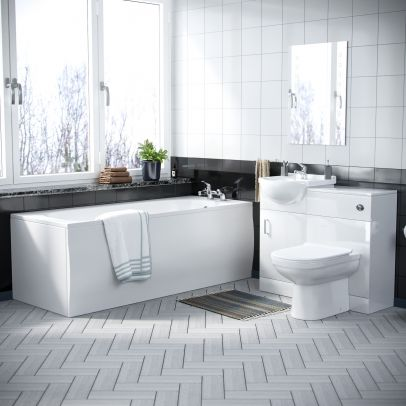 Elora 3 Piece Bathroom Suite with Back to Wall Toilet, 450 Vanity Unit, and Bath Tub