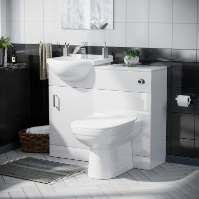 Dyon Floorstanding 450mm Basin Vanity Unit, Back to Wall WC Unit & D-Shape Toilet