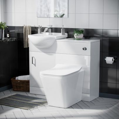 Dyon Floorstanding 450mm Basin Vanity Unit, Back to Wall WC Unit & Square Toilet White