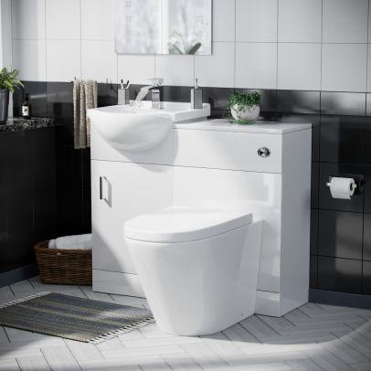 Dyon Floorstanding 450mm Basin Vanity Unit, Back to Wall WC Unit & Toilet White