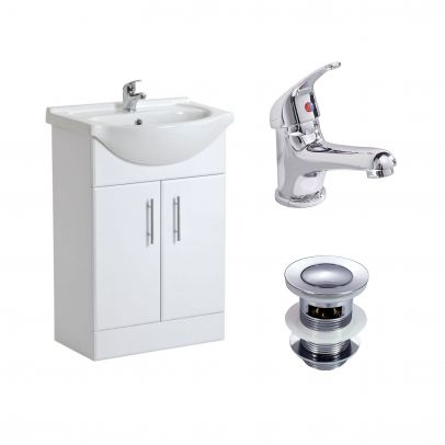 Modern White Freestanding Basin Vanity Unit and Mono Mixer Tap with  Waste