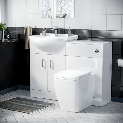 Enville 550mm Floor Standing Cabinet With BTW Toilet Gloss White