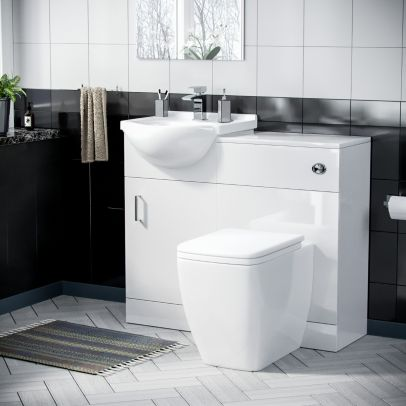Enville 450mm Floor Standing Cabinet With BTW Toilet Gloss White