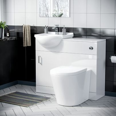 Dyon 450mm Floorstanding Vanity Basin Unit & Round Back To Wall Toilet White