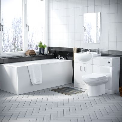 Laguna Complete Bathoom Suite including Back To Wall Toilet, Vanity Unit, Bathtub and Taps
