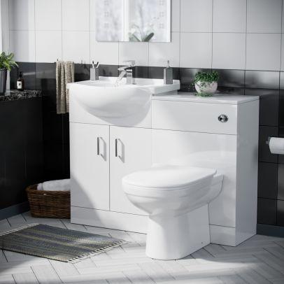 Dyon 550mm Floorstanding Vanity Basin Unit, 500mm WC Unit & BTW D-Shape Toilet White