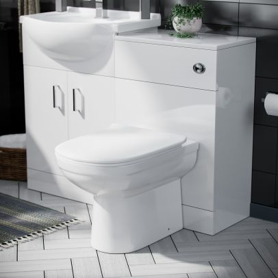 Debra White Gloss Basin 1050mm Vanity Unit with Back To Wall Toilet WC Unit Set
