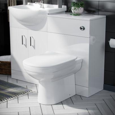 Dyon 550mm Floorstanding Vanity Basin Unit, 500mm WC Unit & D-Shape Toilet White