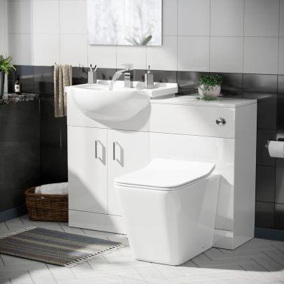 Dyon 550mm Floorstanding Vanity Basin Unit, 500mm WC Unit & Toilet White