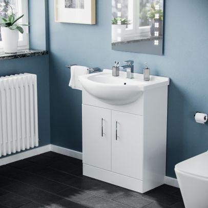 Dyon 650mm Floorstanding Vanity Basin Unit White
