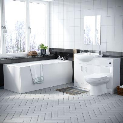 Debra 3 Piece Back To Wall Toilet, Vanity Unit and Bath Bathroom Suite