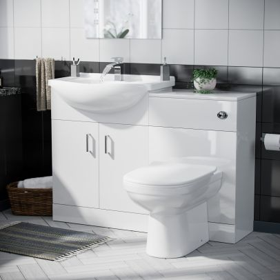 Dyon 550mm Floorstanding Vanity Basin Unit, 500mm WC Unit & Back To Wall Toilet White