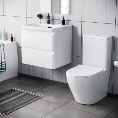 Alaska 600mm Wall Hung Vanity Basin Unit & Curved Close Coupled Toilet White