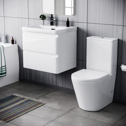 Alaska 600mm Wall Hung Vanity Basin Unit & Close Coupled Toilet White