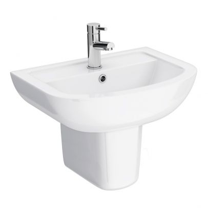 Kartell 550mm Basin With Semi Pedestal - 1 Tap Hole