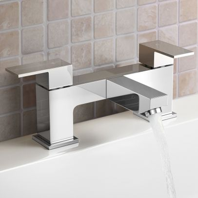 Aldo Modern Bathroom Chrome Deck Mounted Solid Brass Bath Filler Tap