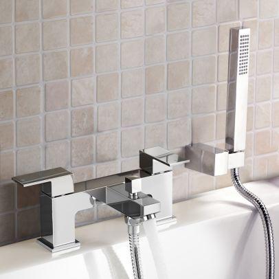 Aldo Bathroom Chrome Deck Mounted Solid Brass Bath Filler Tap & Shower Handset