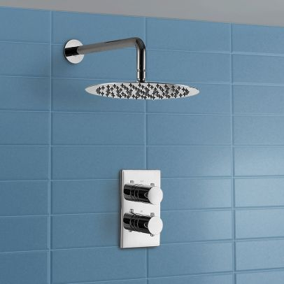 Slim 2 Dial 1 Way Concealed Round Thermostatic Shower Mixer