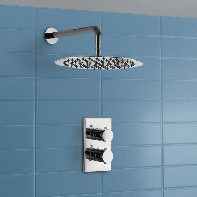 2 Dial 1 Way Thermostatic Mixer Valve with Rainfall Shower Head