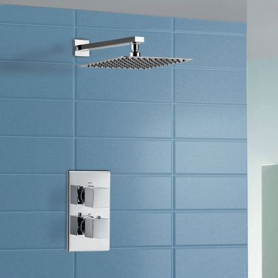 Slim 2 Dial 1 Way Concealed Square Thermostatic Shower Mixer