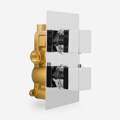 Temel Bathroom Square 2 Dial 1 Way Chrome Concealed Thermostatic Shower Mixer Valve