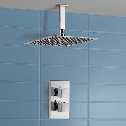 Lotus Ceiling Rainfall Shower Head with Concealed Thermostatic Control