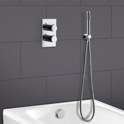 Teslie Round Concealed Thermostatic Shower Mixer Set - Handset & Bath Filler