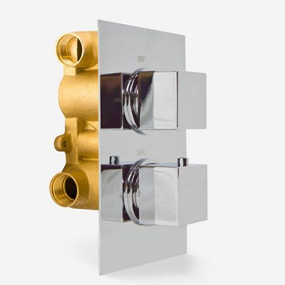 Temel Modern Square 2 Way Concealed Thermostatic Shower Mixer Valve Chrome