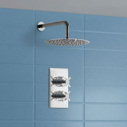 200 mm Ultra Thin Shower Head and Thermostatic Shower Mixer Valve