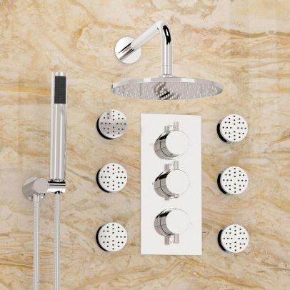 Flora 3 Dial 3 Way Round Set - Shower Head, Handset & Body Jets