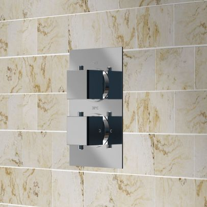 Temelis Square 2 Dial 2 Way Concealed Thermostatic Shower Valve - Chrome