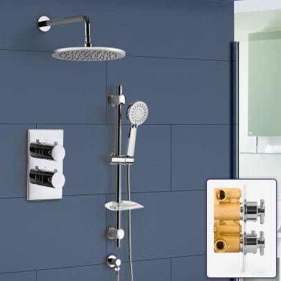 Teslie Bathroom Concealed Thermostatic Shower Mixer Head Slider Rail Handset