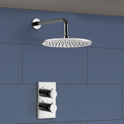 Lily 2 Dial 1 Way Concealed Thermostatic  Wall Mounted Shower Mixer Kit
