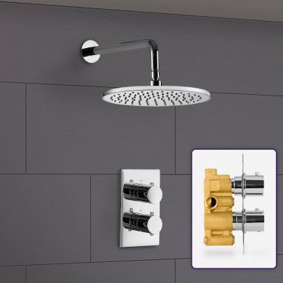LILY 2 DIAL 1 WAY ROUND SET - WALL MOUNTED HEAD
