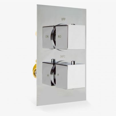 Temel Square 2 Dial 1 Way Chrome Concealed Thermostatic Shower Mixer Valve