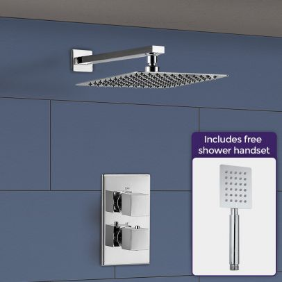 Temel Square Thermostatic Mixer Valve, Shower Arm & Shower Head with Hand Set