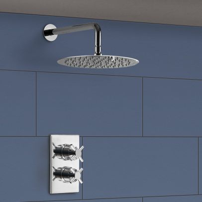 Maxallos 2 Dial 1 Way Cross Thermostatic Mixer Valve, Round Shower Arm And Shower Head