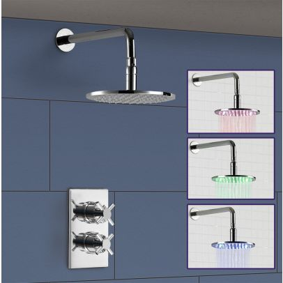 Maxallos Single Outlet Concealed Thermostatic Shower, 300mm Round Shower Arm and ABS 200 LED Shower Head - ROUND