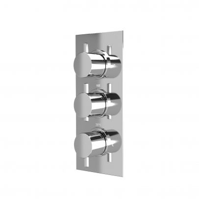Orta Round 3 Dial 2 Way Chrome Concealed Thermostatic Shower Mixer Valve