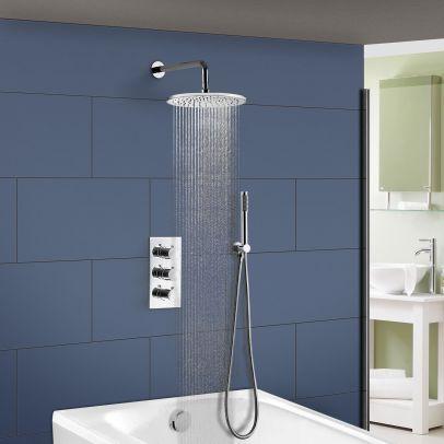 Flora Round 3 Way Concealed Thermostatic Mixer Shower Valve Pencil Handset Bath Filler