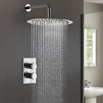 Lily Ultra Thin 2 Dial 1 Way Concealed Thermostatic Shower Mixer and 300 mm Overhead Shower Head