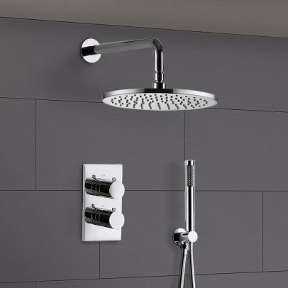 Teslie Round Concealed Thermostatic Shower Mixer Set - Shower Head & Handset
