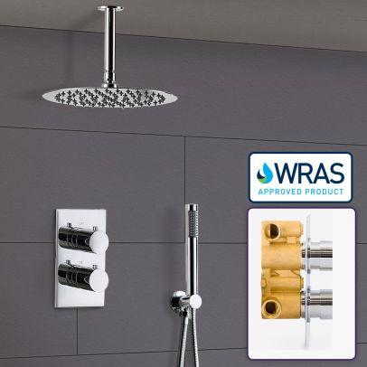 Teslie Round Concealed Thermostatic Shower Mixer Set - Ultra Slim Shower Head 200mm & Handset