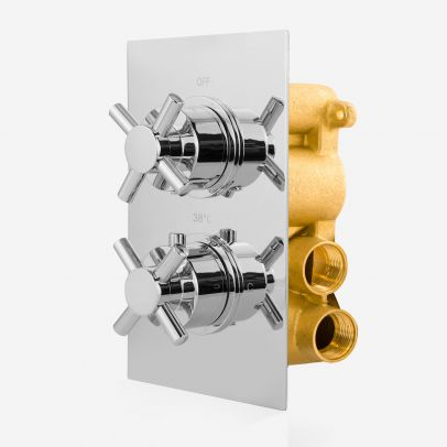 Zeros Modern Cross 2 Dial 2 Outlet Concealed Shower Thermostatic Valve - Chrome